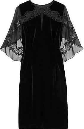 Elie Tahari Elie Tahari Woman Essence Draped Chiffon-paneled Velvet Mini Dress Black Size 0