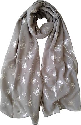 GlamLondon Dandelion Scarf Glitter Dandelions Flower Print Fashion Ladies Womens Classy Party Wrap (Grey Dark)