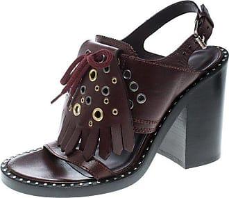 5b2e2b1f5f5a Burberry Leather Beverley Eyelet Fringe Detail Block Heel Sandals Size 40
