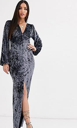 Asos Tall ASOS DESIGN Tall long sleeve button through velvet maxi dress in steel-Grey