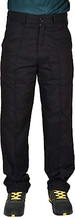 True Face Mens Trouser Work Heavy Duty Twill Work Sewn Creases Workwear Pants Bottoms Black 40W X 34L