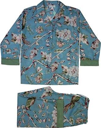 Powell Craft Ladies Blue Blossom Print Cotton Pyjamas - S/M | cotton | blue - Blue/Blue