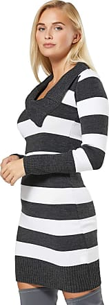 Zeta Ville Zeta Ville Womens Bodycon Striped Sweater Tunic Mini Jumper Dress 1091 (Graphite Melange & White, UK 8/10, S/M)