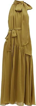 Zimmermann Super Eight Pussy-bow Silk-charmeuse Maxi Dress - Womens - Khaki