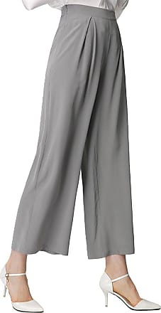 LilySilk Ladies Silk Wide Leg Pants 18 Momme Pure Silk Straight Pants Classy Grey Size XXL