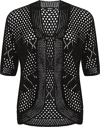 WearAll Womens Plus Crochet Knitted Open Tied Cardigan Ladies Short Sleeve Shrug Top New - Black - 16-18