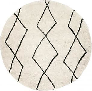 Venta-Unica.com Alfombra redonda de estilo bereber LUSO - 100% polipropileno - D.160cm - Crudo y negro