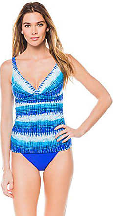 ecf8248147 Gottex Womens Twist Front V-Neck Cup Sized Tankini Top Swimsuit, Pool Party  Multi