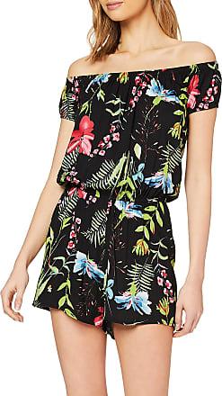 Urban Classics Womens Jumpsuit Ladies AOP Off Shoulder Short Einteiler Dress Pants, Black Flower, XXX-Large