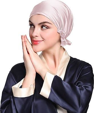 LilySilk Womens 100% Silk Sleeping Cap Hat With Ribbon Bonnet Head Cover 19 Momme Real Pure Mulberry Silk Charmeuse Light Plum 7004