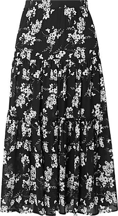 Michael Kors Tiered Floral-print Chiffon Skirt - Black