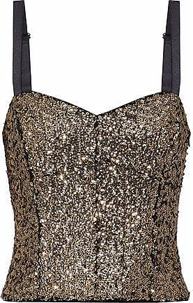 Milly Milly Woman Sequined Satin Bustier Top Gold Size 10
