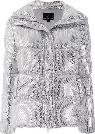 Unreal Fur sequin embellished padded jacket - SILVER