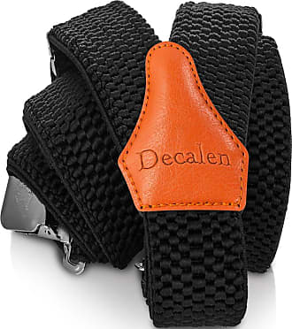 Decalen Mens Braces with Very Strong Clips Heavy Duty Suspenders One Size Fits All Wide Adjustable and Elastic Y Style (Black 1)