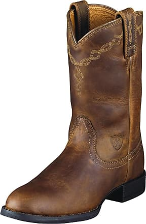 Ariat Womens Heritage Roper Western Boots in Distressed Brown Leather, B Medium Width, Size 3.5, by Ariat