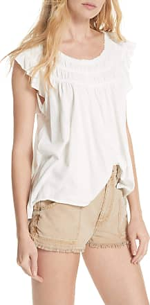Free People Womens White Sleeveless Scoop Neck Peasant Top Size: L