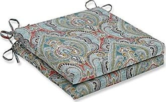 Pillow Perfect Outdoor | Indoor Pretty Witty Reef Squared Corners Seat Cushion 20x20x3 (Set of 2), Blue 20 X 20 X 3