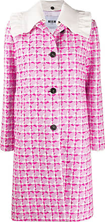 Msgm single-breasted check tweed coat - PINK