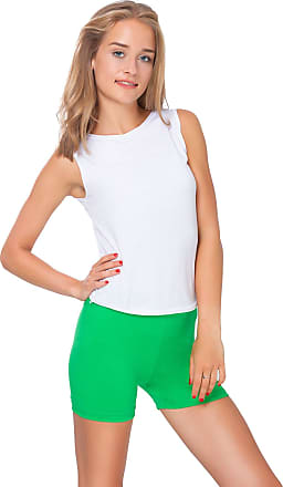 FUTURO FASHION Super Soft Cotton Shorts Elastic Stretch Yoga Knickers UK 8-22 PSL5 Green