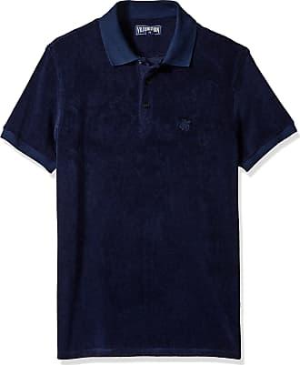 Vilebrequin Mens Pacific COLID Terry Polo Shirt, Bleu Marine, Medium