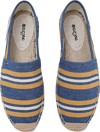ICEGREY Womens Causal Loafer Flat Slip On Espadrille Blue Orange Strips UK 4.5