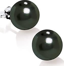 Misaki Puces doreilles Classic rhodiées avec perles noires de 7 mm