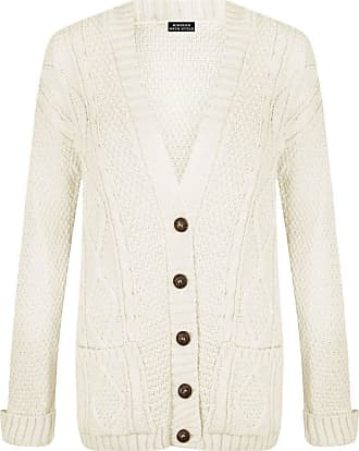 Purple Hanger New Womens Everyday Long Sleeve Button Top Ladies Chunky Aran Cable Knit Grandad Cardigan (16-18 XL, White)