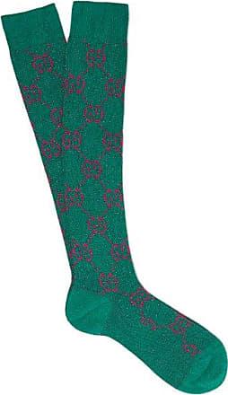 Gucci GG-intarsia Metallic Cotton-blend Socks - Womens - Green Multi