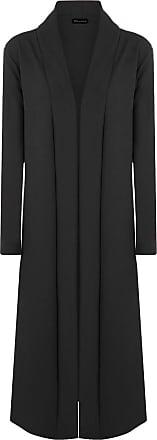 Islander Fashions Womens Long Sleeve Open Front Crepe Cardigan Ladies Fancy Duster Coat Jacket Black X Large