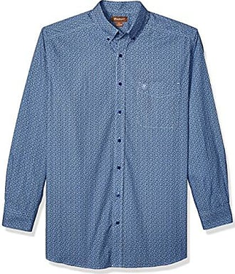 e9aa223e Ariat Mens Big and Tall Fitted Long Sleeve Button Down Stretch Shirt, True  Navy,
