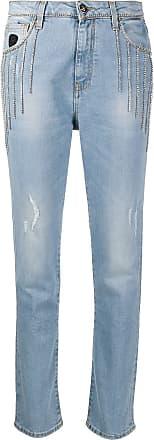 John Richmond Calça jeans cintura alta com aplicações - Azul