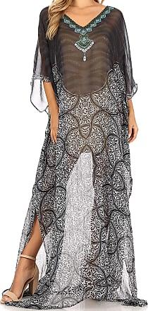 Sakkas P4 - LongKaftan Wilder Printed Design Long Semi Sheer Caftan Dress/Cover Up - tbk34-multi - OS