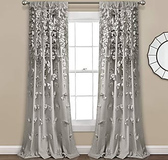 Triangle Home Fashions Lush Decor Riley Curtain Sheer Ruffled Textured Bow Window Panel for Living, Dining Room, Bedroom (Single) 84 x 54 Light Gray, L