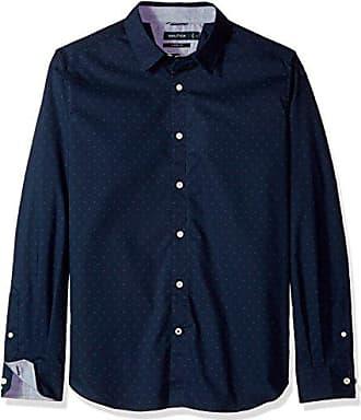 0991a1d339 Nautica Mens Ls Wrinkle Resistant Stretch Poplin Print Button Down Shirt,  Maritime Navy Small
