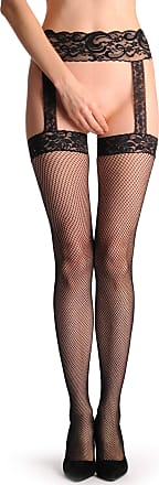 Liss Kiss Fishnet Stockings With Red Crystals Garter & Attached Suspender Belt - Black Fishnet Designer Stockings