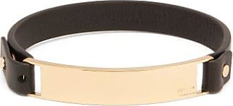 Bottega Veneta Logo-engraved Plaque Leather Bracelet - Mens - Black