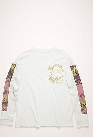 Acne Studios FN-MN-TSHI000169 Puderblau T-Shirt mit Sommersonnenwende-Print
