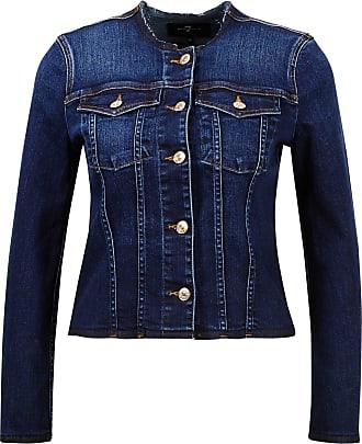 7 For All Mankind Baumwoll-Jeansjacke mit ausgefranstem Saum Dunkelblau