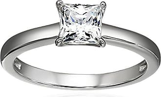 Amazon Collection Platinum Plated Sterling Silver Solitaire Engagement Ring set with Princess Cut Swarovski Zirconia (1 cttw), Size 9