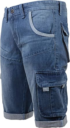 Crosshatch Mens Crosshatch Kanaster Denim Multipocket Cargo Designer Shorts[Light Wash,42 Waist]