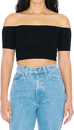 American Apparel Womens Cotton Spandex Off-Shoulder Short Sleeve Top Shirt, Black, X-Small