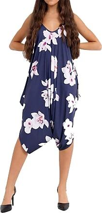 Islander Fashions Womens Printed Cami Strappy Leganlook Jumpsuit Ladies Fancy Baggy Heram Romper White Lily Navy UK 14