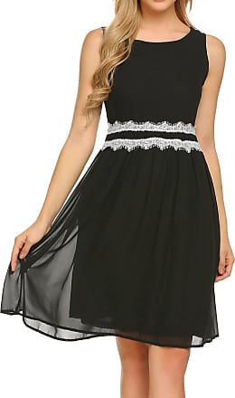 Zeagoo Womens A-Line Dress Sleeveless Lace Patchwork O-Neck Pleated Chiffon Dress Black