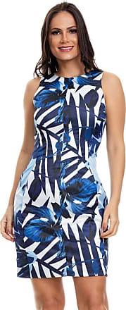 Clara Arruda Vestido Clara Arruda Tubinho Bolsos Estampado 50562-40 - Azul Royal/branco