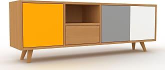 MYCS Meuble TV - Chêne, design, meuble hifi, multimedia, avec porte Jaune et tiroir Chêne - 154 x 53 x 35 cm