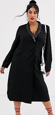 Unique21 Hero Unique21 Hero long sleeve sequin lapel tailored blazer dress-Black