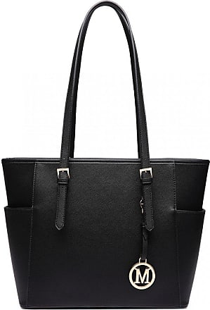 Quirk Miss LULU Faux Leather Shoulder Handbag Large Tote Bag (Black)