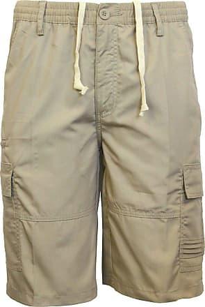 Saute Styles Mens Elasticated Waist Casual Bermuda Combat Cargo Shorts Work Summer Half Pants Size 2XL Beige