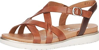Remonte Women Sandals, Ladies Strappy Sandals,Roman Sandals,Gladiator Sandals,Summer Shoes,Comfortable,Muskat/Havanna / 24,44 EU / 9.5 UK