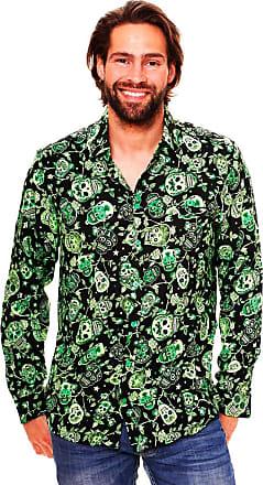 V.H.O. Funky Hawaiian Shirt, LS-Skull, Green, L